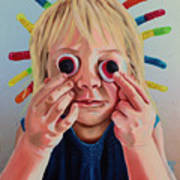 Gummy Eyes Gummy Worms Art Print