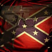 Gun And Confederate Flag Art Print
