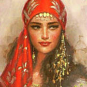 Gypsy Girl Portrait Art Print