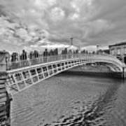 Ha' Penny Bridge In Black And White Art Print