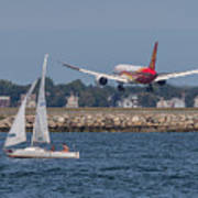 Hainan Airlines 787 Dreamliner Landing At Logan Art Print