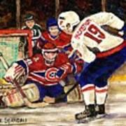 Halak Blocks Backstrom In Stanley Cup Playoffs 2010 Art Print by Carole Spandau