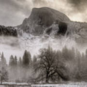 Half Dome In Winter Print by Connie Cooper-Edwards