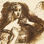 Half-length Sketch Of A Young Woman Art Print