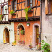 Half-timbered House Of Eguisheim, Alsace, France.  Art Print