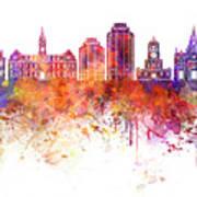 Halifax V2 Skyline In Watercolor Background Art Print