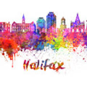 Halifax V2 Skyline In Watercolor Splatters With Clipping Path Art Print