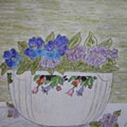 Hall China Crocus Bowl With Violets Art Print