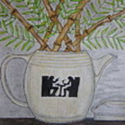 Hall China Silhouette Pitcher With Bamboo Art Print