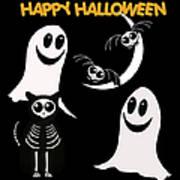 Halloween Bats Ghosts And Cat Art Print
