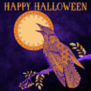 Halloween Crow and Moon Art Print