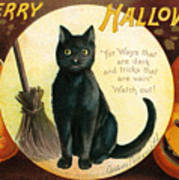 Halloween Greetings With Black Cat And Carved Pumpkins Art Print