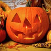 Halloween Pumpkin Smiling Art Print