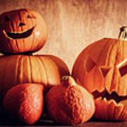 Halloween Pumpkins, Carved Jack-o-lantern. Art Print