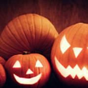 Halloween Pumpkins Glowing, Jack-o-lantern Art Print