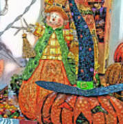 Halloween Scarecrow And Pumpkin Pa 02 Vertical Art Print