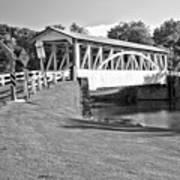 Halls Mill Covered Bridge Landscape Black And White Art Print