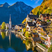 Hallstatt In Fall Art Print