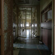 Hallway With Solitary Confinement Cells In Prison Hospital Art Print