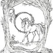 Haloed Unicorn In The Woods Art Print