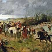 Halt Of Prince Charles Edward On The Banks Of The Nairne Art Print