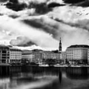 Hamburg At Sunset Art Print