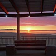 Hampton Beach Sunrise Hampton Beach State Park Hampton Nh Bench 2 Art Print