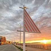 Hampton Beach Sunrise Hampton Beach State Park Hampton Nh Flag Art Print