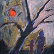 Hand In Hand Walk Under The Moon Art Print