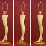 Hand Carved Wood Leg Lamp Art Print