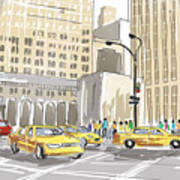 Hand Drawn Sketch Of A Busy New York City Street Art Print