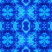 Hand-dyed Blue And Turquoise Fabric With Zig Zag Stitch Details  Art Print