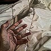 Hand On Comforter Art Print