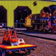 Handcar And Old Train Art Print
