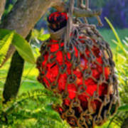 Hanging Red Bottle Garden Art Art Print