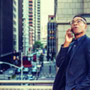 Happy African American Businessman Working In New York Art Print