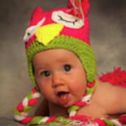 Happy Baby In A Woollen Hat Art Print