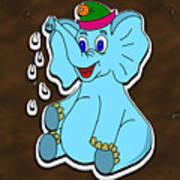 Happy Blue Elephant Gingerbread Art Print