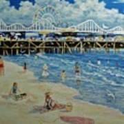 Happy Day At Santa Monica Beach And Pier Art Print