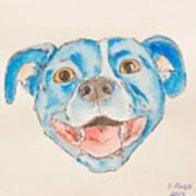 Happy Dog Blue Art Print