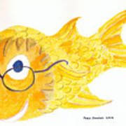 Happy Golden Fish Art Print by Fred Jinkins