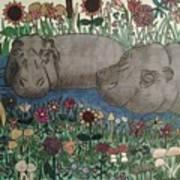 Happy Hippos Art Print