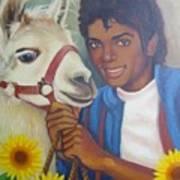 Happy Michael Jackson With His Pet Llama  Art Print