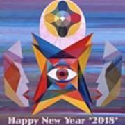 Happy New Year 2018 Art Print
