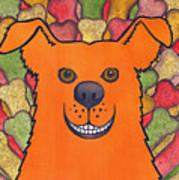 Happy Orange Doggy Dog Art Print