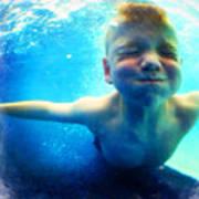 Happy Under Water Pool Boy Square Art Print