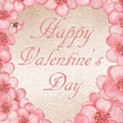 Happy Valentine Pink Heart Art Print