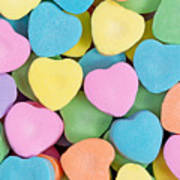 Happy Valentines Day With Colorful Heart Shaped Candies Art Print