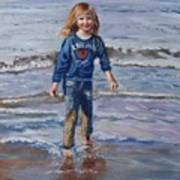 Happy With Sea And Sand Art Print