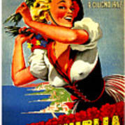 Happy Woman With Flowers, Festival In Ventimiglia, Italy Art Print